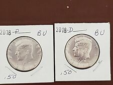 2018~P&D~BU COINS FROM US MINT SET~  CLAD~ KENNEDY~ HALF~ DOLLAR~ COINS IN 2X2