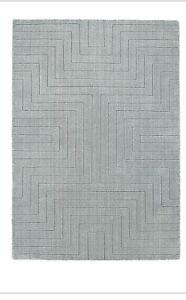 Origins Carved Maze Hand Tufted Modern Quality Wool Rug Grey 3 Sizes