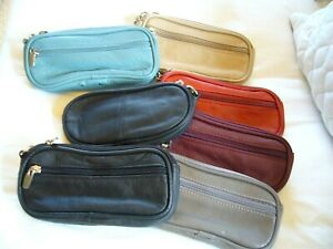"GENUINE LEATHER EYEGLASS/ SUNGLASS CASES ""SINGLE OR DOUBLE""~VERY SOFT~NOW COLORS"