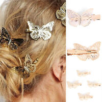 Women Shiny Golden Butterfly Hair Clip Headband Hair Accessories Headpiece SO