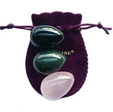 Set of 3 Yoni Eggs of 3 Gemstones, Nephrite, Rose Quartz & Obsidian, Same M Size