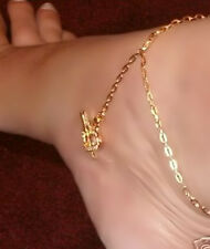 GOLD gep Dancer CZ Heart Chain Chains Anklet