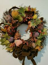 "22"" Handmade Hanging Door Wall Wreath Fall Thanksgiving Leaves Fruit Berries"
