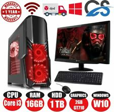 ULTRA VELOCE PC Da Gioco Bundle Intel Core i3 @ 3.10GHz 16GB 1TB Windows 10 GT710