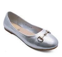LADIES FLAT SILVER SLIP-ON DOLLY BALLERINA BALLET SMART CASUAL COMFY PUMPS 3-8