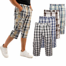Mens 3/4 Shorts Check Cargo Long Pants Combat 100% Cotton Trouser Summer Holiday