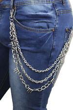 New Men Silver Metal Fashion Wallet Chain 3 Strands Spikes Charm Biker Trucker