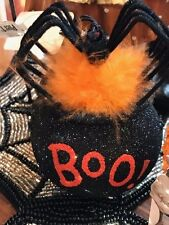 Pier 1 Witches Cauldron Halloween Ornament Embellished Glitter  Feather Tree Boo