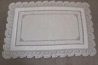 Vintage white linen rectangular cloth with crochet edge and drawn thread work.