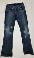 MISS SIXTY Women's FLARE LEG JEANS Size 27 MADE in ITALY VINTAGE Distressed