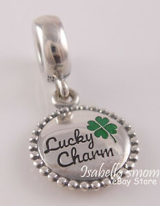 LUCKY Authentic PANDORA Green Four-Leaf CLOVER Dangle Charm ENG791169_81 NEW