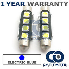2X BLUE CANBUS NUMBER PLATE INTERIOR 4 SUPER BRIGHT SMD LED BULBS 44MM 10BX2