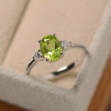 1.70 Ct Oval Cut Peridot Diamond Wedding Ring 925 Sterling Silver Size M N P