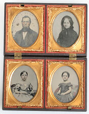 AMBROTYPE FAMILY TINTED, FOUR 1/9 PLATE FAMILY PARTY UNION CASE.