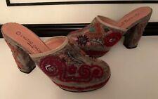 L'Autre Chose Women's Platform Mule Heels Embellishments Boho Southwest ITALY💕