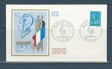 enveloppe 1er jour  Marianne de Bequet   45c  bleu    75  Paris   1971