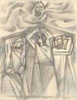 """Anatoliy Chudinovskikh Expressionist Bleistift Papier """"Zyklopen"""" 65x50 cm"""