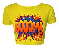 Ladies Crop Top Womens Stretch Cap Sleeve Vest T Shirt Tee Printed 8 10 12 14