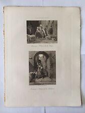 GRAVURE HELIOGRAVURE GEORGES PETIT 1904 DECAMPS HEURE SOUPE - RETOUR FONTAINE