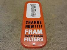 Vintage Fram Filter Thermometer Sign   Antique Old Auto Service Station 8255