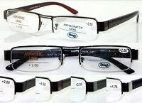 L408 Classic Semi-Rimless Reading Glasses Double Bridge/Spring Hinges Arm Design