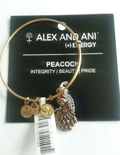 Alex and Ani PEACOCK Bangle Bracelet BOX Vintage Russian Gold Charm NWT RARE
