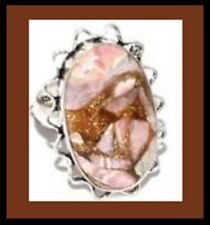 NEW - UNIQUE COPPER RHODOCHROSITE ANTIQUE SILVER LARGE STATEMENT RING SIZE 9