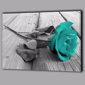 Back White Teal Rose Canvas Wall Painting Picture Flower Floral Home Decor