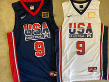 Michael Jordan #9 Men's Usa Olympic Dream Team Basketball Sewn White/Navy Jersey