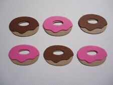 12 MINI DONUT EMBELLISHMENT DIE CUTS ~CHOOSE CHOCOLATE OR STRAWBERRY ~ DONUTS