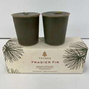 NIB Thymes Frasier Fir Aromatic Votive Set Candle 2-2 oz. Each Pine Christmas
