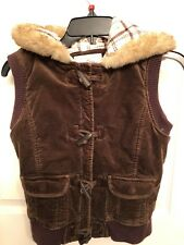 Old Navy Girl's Vest Size XL 14 Brown Velvety Fur Hood Zip & Toggles & Pockets