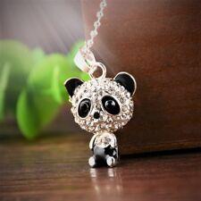 Lindo Kitsch * Collar Panda * Chicas Joyería Pendant de diamantes de imitación de cristal de largo