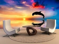 Wall Mural Decal Beautiful ocean and sunset dolphin Art Home Decor Print Poster