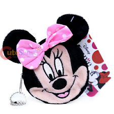 Disney Minnie Mouse Face Plush Coin Wallet Round Mini Purse Key Chain