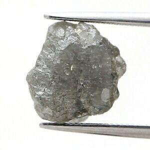 Big Rare Rough Diamond 5.61Ct Gray Silver Sparkling Natural Irregular Shape Gift