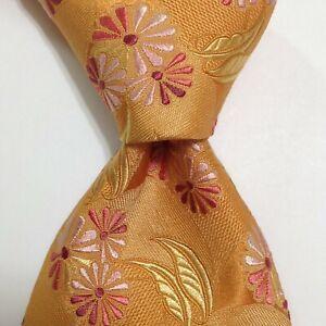 ERMENEGILDO ZEGNA Men's 100% Silk Necktie ITALY Luxury FLORAL Yellow/Pink EUC