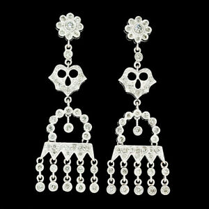 Elegant 18k White Gold 1.35ctw Diamond Chandelier Milgrain Drop Dangle Earrings