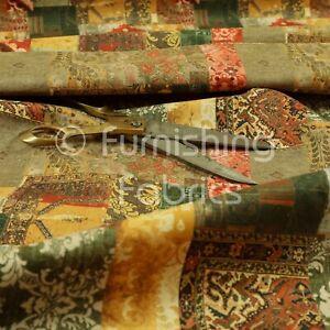 Modern Printed Velvet Geometric Bronze Patchwork Upholstery Furnishing Fabric