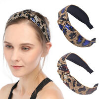 Women's Leopard Sequin Headband Hairband Bezel Turban Knot Hair Band Accessories
