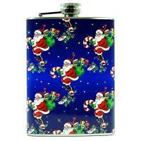 8 oz Steel Hip Flask Santa Claus Blue Christmas Liquor Gift Retro Vntg Image