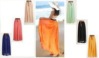 Womens Maxi Skirt Ladies Sheer Chiffon Gypsy Plain Long Maxi Dress Skirt *lng