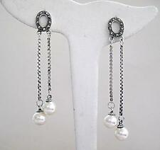Beautiful Faux Pearl, Marcasite & Silver Double Drop Earrings