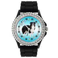 Border Collie Dog Crystal Rhinestone Mens Ladies Jelly Silicone Watch SG140P