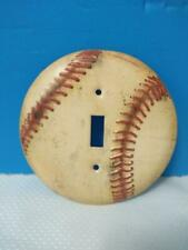 Tin Light Switch Cover Plate*Single Toggle*Vintage Stitched Baseball Design NEW!