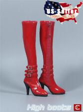"""1/6 Women Red High Heels Boots Zipper Shoes For 12"""" Phicen Kumik Figure ❶USA❶"""