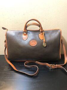 Vintage Dark Sage Green Leather Brown Trim Satchel/overnight/shoulder HandBag