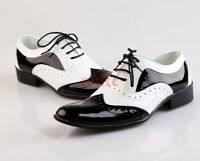 Men's Carved Brogues Pointy Toe Dress Shoes Black And White Lace Up Oxfords