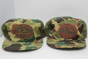 2 Ducks Unlimited Vintage Snapback Hat 10/30 Club Camo Hunting Cap