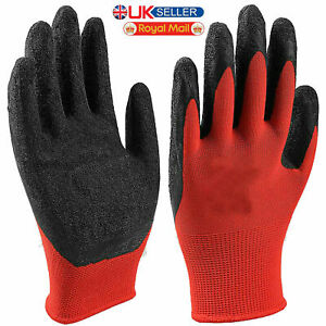 """Safety Work Gloves Nitrile Coated Palm Nylon Builders Construction 10"""" Size"""